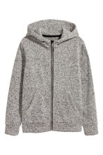 Knitted fleece jacket - Grey marl -  | H&M 2
