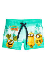 Printed swimming trunks - Mint green/Minions  -  | H&M CN 2