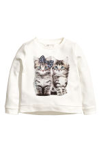 Sweatshirt - White/Cats - Kids | H&M CN 2