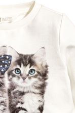 Sweatshirt - White/Cats - Kids | H&M CN 3