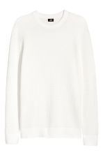 Textured cotton jumper - White - Men | H&M CN 2