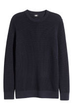 Textured cotton jumper - Dark blue - Men | H&M CN 2