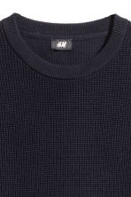 Textured cotton jumper - Dark blue - Men | H&M CN 3