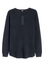 Waffled Henley shirt - Dark blue - Men | H&M CN 2