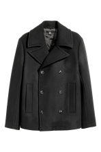 Wool-blend pea coat - Black - Men | H&M 2
