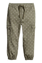 Pull-on trousers - Khaki green/Hearts - Kids | H&M CN 2