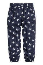 Patterned pull-on trousers - Dark blue/Butterflies - Kids | H&M CN 2