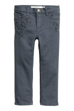 Twill trousers with embroidery - Blue-grey - Kids | H&M 2