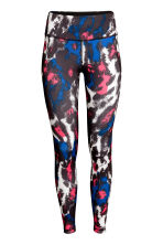 Sports tights - Neon pink/Patterned - Ladies | H&M 2