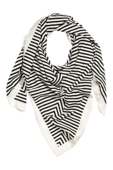 Large scarf - White/Black striped - Ladies | H&M 1