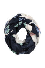 Airy tube scarf - Dark blue/Floral - Ladies | H&M CN 1