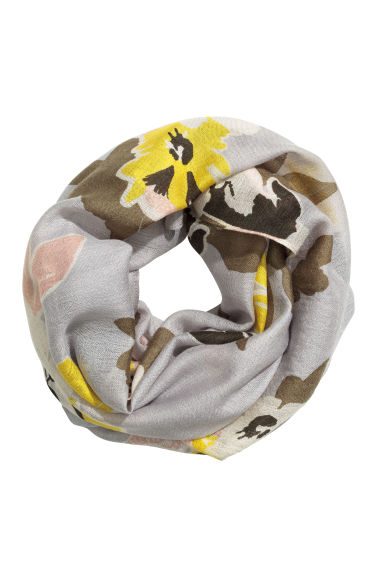 Airy tube scarf - Light grey/Floral - Ladies | H&M 1