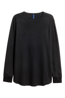 Waffled long-sleeved T-shirt
