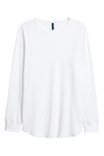 Waffled long-sleeved T-shirt - White - Men | H&M CN 2