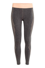 Seamless sports tights - Dark grey marl - Ladies | H&M CN 2