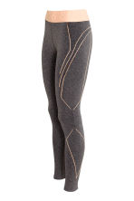Seamless sports tights - Dark grey marl - Ladies | H&M CN 3