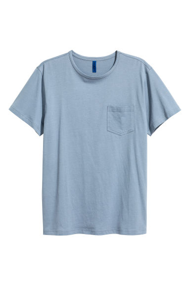 T-shirt with a chest pocket - Pigeon blue -  | H&M 1
