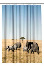 Photo-print shower curtain - Light blue/Elephants - Home All | H&M CN 1
