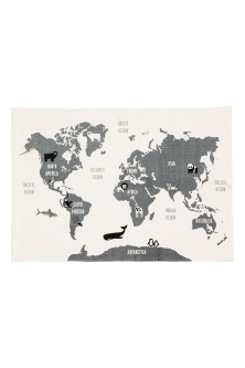 World map-motif cotton rug