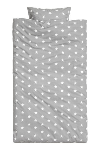Star-print duvet cover set - Grey/White - Home All | H&M CN 1