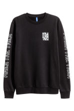 Sweatshirt - Black/Text - Men | H&M 2