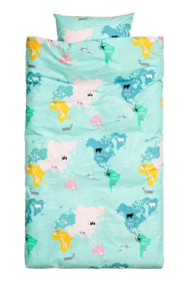 Set copripiumino con mappa - Turchese/animale - HOME | H&M IT 1