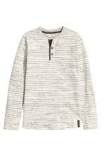 Henley shirt - Light beige/Striped -  | H&M 2