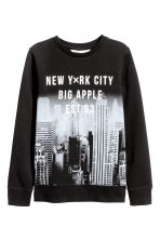 Printed sweatshirt - Black/New York - Kids | H&M CA 2