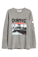 Long-sleeved T-shirt - Dark grey/Skateboard - Kids | H&M 2