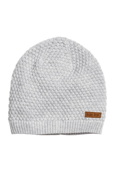 Textured-knit hat - Light grey - Kids | H&M CN 1