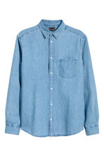 Premium cotton denim shirt - Light denim blue - Men | H&M 2