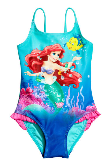 Printed swimsuit - Turquoise/The Little Mermaid - Kids | H&M CN 1
