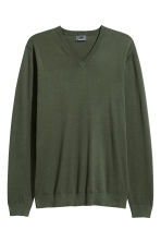 Premium cotton jumper - Dark khaki green - Men | H&M CA 2