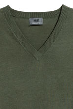 Premium cotton jumper - Dark khaki green - Men | H&M CA 3
