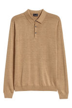 Long-sleeved silk-blend jumper - Dark beige marl - Men | H&M CN 2