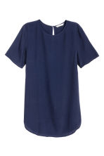 Short-sleeved top - Dark blue - Ladies | H&M CN 2