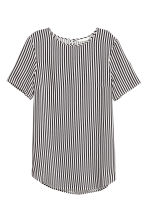 Short-sleeved top - White/Black striped - Ladies | H&M CN 2