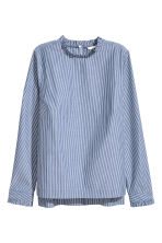 Frilled cotton blouse - Dark blue/Striped - Ladies | H&M 2