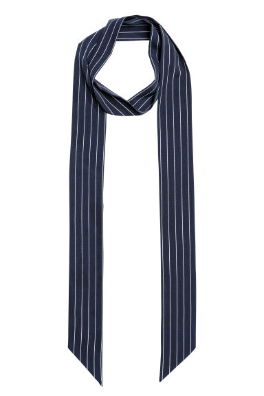 Narrow scarf - Dark blue/Striped - Ladies | H&M