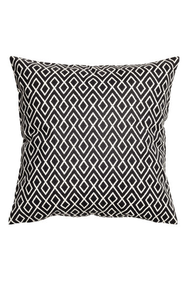 Patterned cushion cover - White/Anthracite - Home All | H&M CN