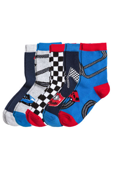 5-pack socks - Cornflower blue/Car - Kids | H&M CN 1