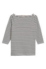 H&M+ Boat-necked jersey top - White/Black striped - Ladies | H&M 2