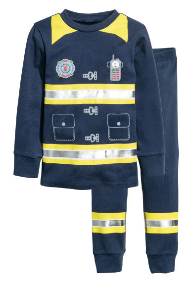 Jersey pyjamas - Dark blue/Fireman - Kids | H&M 1