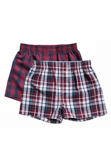 2-pack boxer shorts - Burgundy/Checked - Kids | H&M CA 1