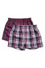2件入四角褲 - Burgundy/Checked - Kids | H&M 1