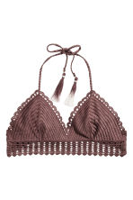Crocheted triangle bikini top - Chocolate brown - Ladies | H&M CN 2