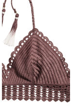 Crocheted triangle bikini top - Chocolate brown - Ladies | H&M CN 3