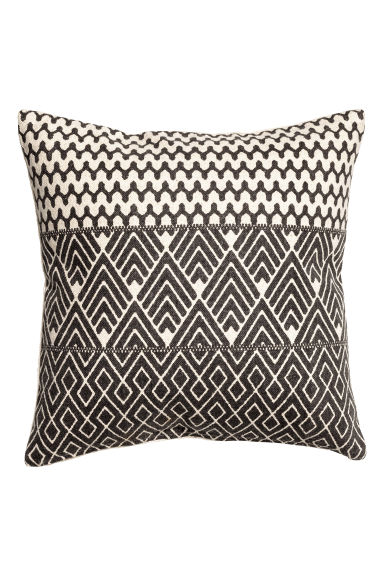 Patterned cushion cover - Natural white/Anthracite grey - Home All | H&M CN 1