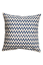 Patterned cushion cover - Natural white/Dark blue - Home All | H&M CN 2