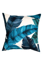 Leaf-patterned cushion cover - Natural white/Dark blue - Home All | H&M CN 1